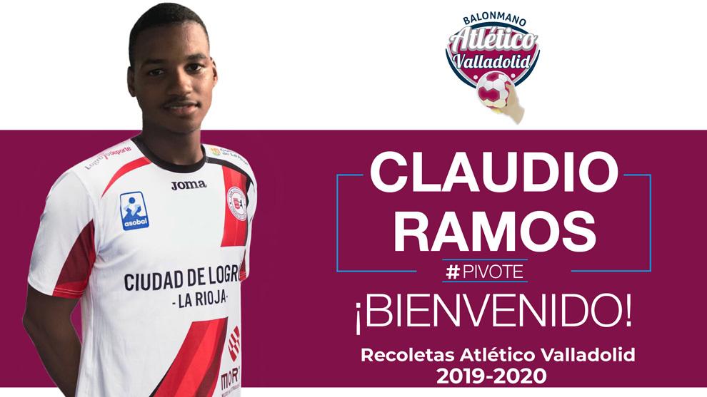 Cartel del fichaje del pivote cubano Claudio Ramos por el Atlético...
