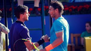 Thiem y Nadal se saludan después de un partido disputado en...