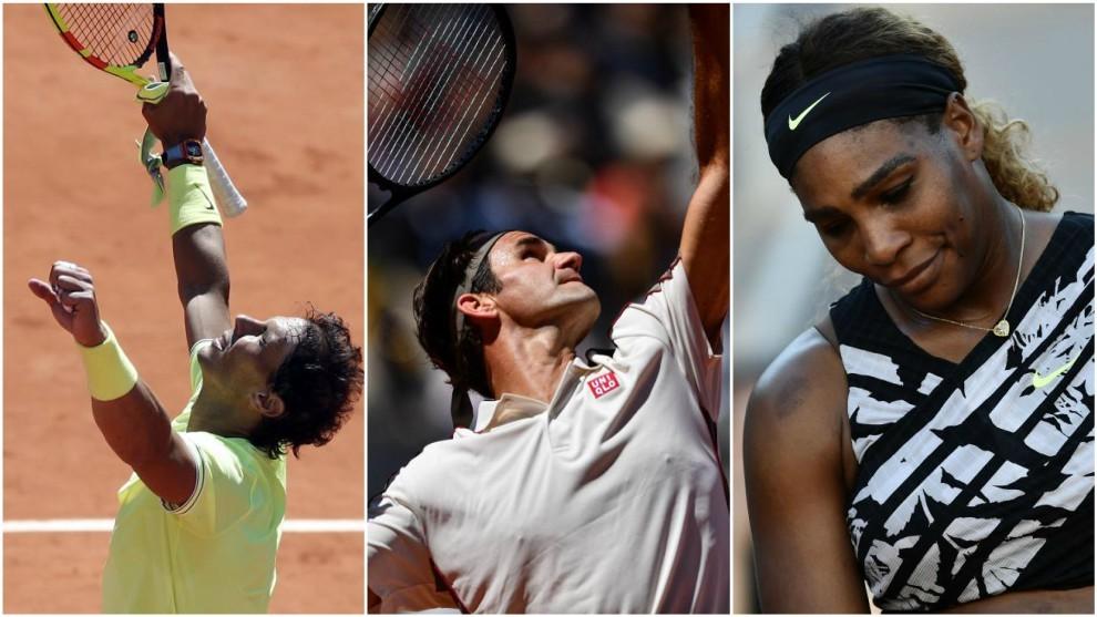 Nadal, Federer y Serena, en París