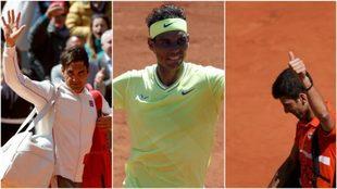 Federer, Nadal y Djokovic, en París.