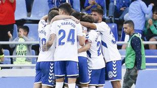 Los jugadores del Tenerife celebran el tanto de Nano ante el Zaragoza.