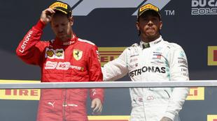 Hamilton y Vettel, en el podio.