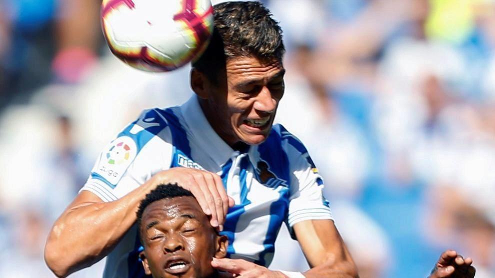 Héctor Moreno, en el partido de la Real contra el Barcelona en...