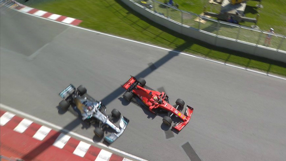 Sebastian Vettel and Lewis Hamilton during the controversial incident.