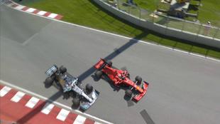 Vettel y Hamilton, en el polémico lance.