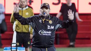 Diego Maradona dirige un entrenamiento de los Dorados