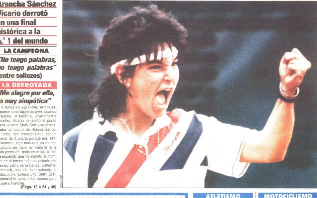 Detalle de la portada de MARCA del 11 de junio de 1989