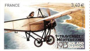 Sello de correos francés en memoria de la travesía del Mediterráneo...