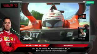 Sebastian Vettel habla al final de la carrera.