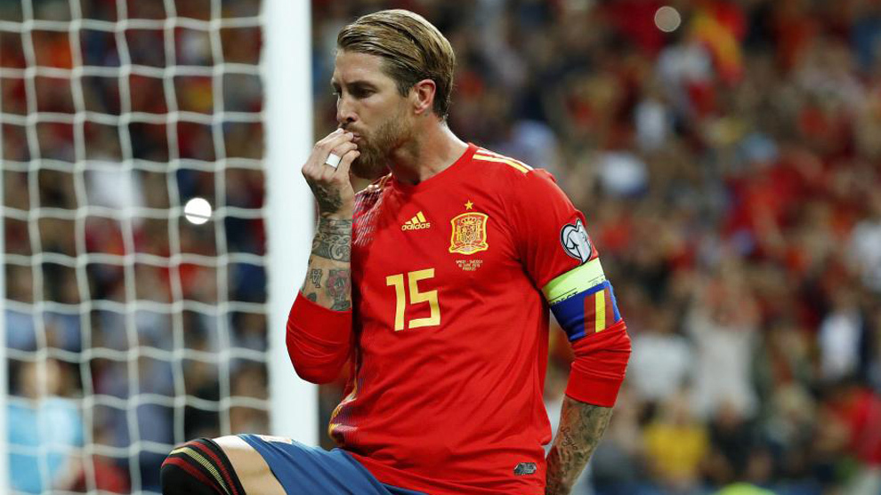 Sergio Ramos celebrates his goal against Sweden.