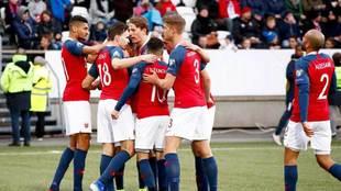 Los jugadores de Noruega celebran uno de los goles ante Islas Feroe.