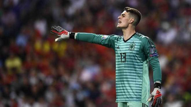 Kepa Arrizabalaga giving out instructions during the victory over...