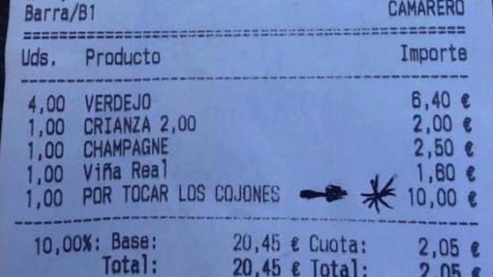 """Cobran un suplemento de 10 euros a unos comensales """"por tocar los..."""