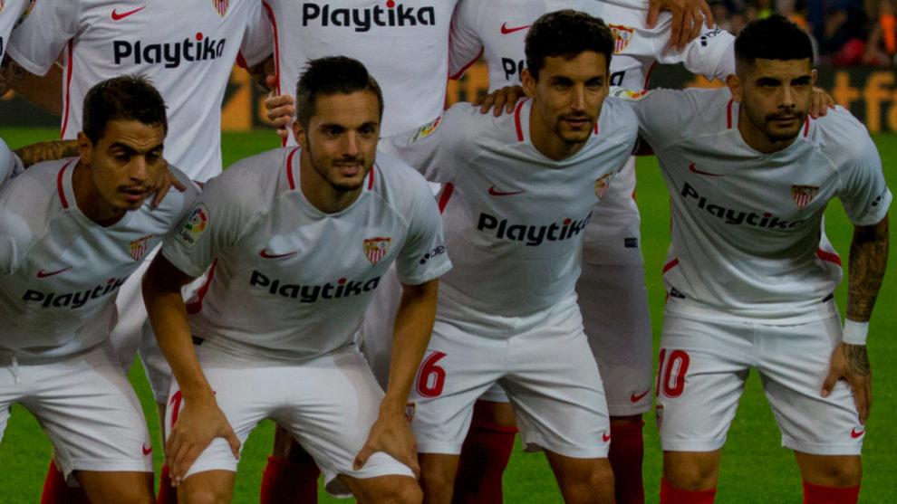 Wissam Ben Yedder, Pablo Sarabia and Ever Banega alongside Jesus Navas...