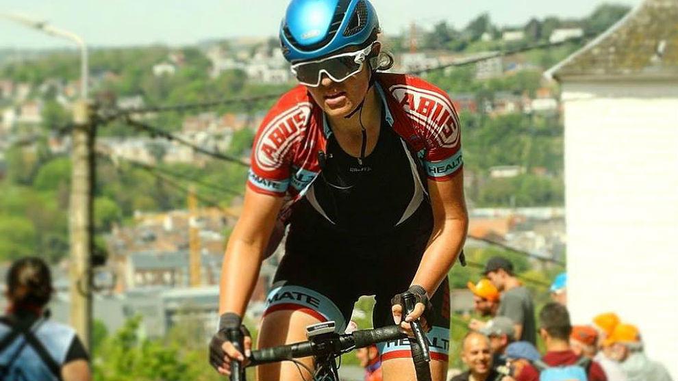 Esther Meisels, este año en el Muro de Huy, compitiendo en La Flecha...