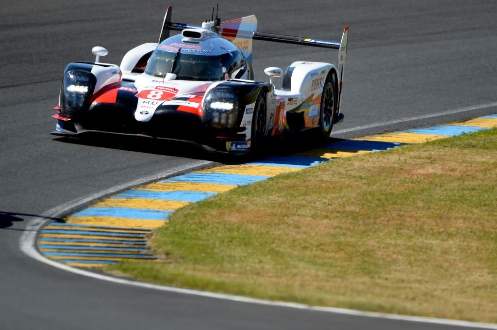 Toyota TS050 Hybrid LMP1 Spains driver <HIT>Fernando</HIT><HIT>Alonso</HIT> competes during the test day of the 87th edition of the 24 Hours of Le Mans endurance race on June 2, 2019, at the Le Mans circuit, northwestern France. (Photo by JEAN-FRANCOIS MONIER / AFP)