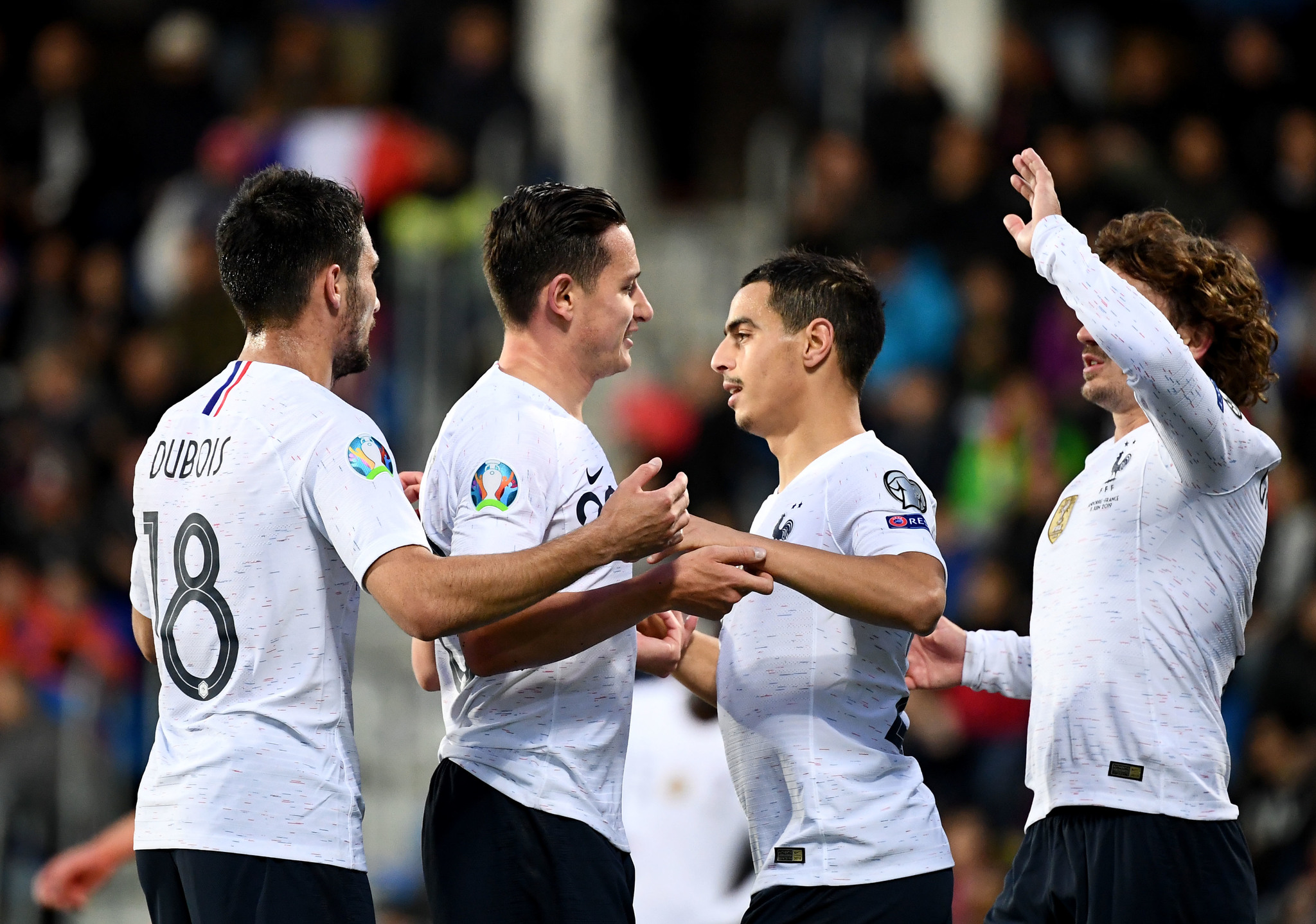 Frances forward Florian Thauvin (2L) celebrates with his teammates Frances forward Antoine Griezmann (R, Frances midfielder Wissam <HIT>Ben</HIT><HIT>Yedder</HIT> (2R) and Frances defender Leo Dubois after scoring during the UEFA Euro 2020 qualification football match between Andorra and France at the National stadium in Andorra La Vella, on June 11, 2019. (Photo by FRANCK FIFE / AFP)