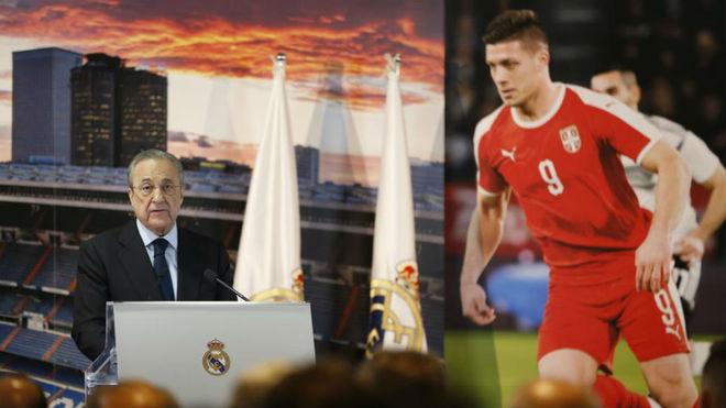Florentino Pérez, en el acto de presentación de Jovic