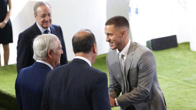 Eden Hazard during his presentation.
