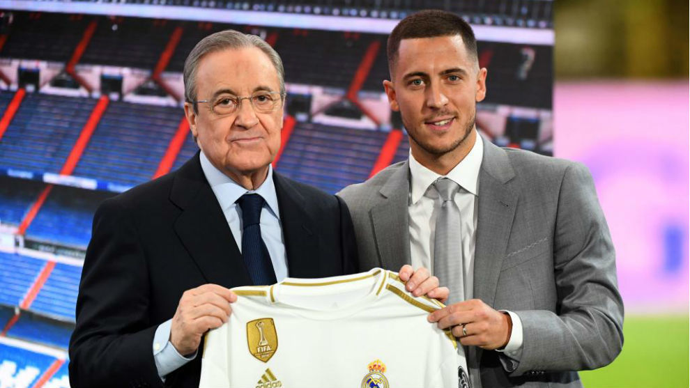 Florentino Perez and Eden Hazard during the player's presentation.