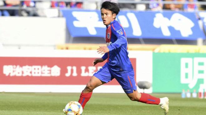 Takefusa Kubo playing for FC Tokyo.