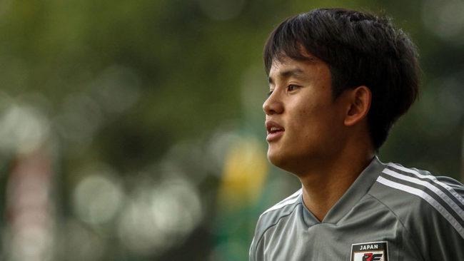 Takefusa Kubo, durante un entrenamiento con la selección japonesa.