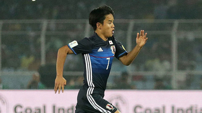 Takefusa Kubo playing for the Japanese national team.