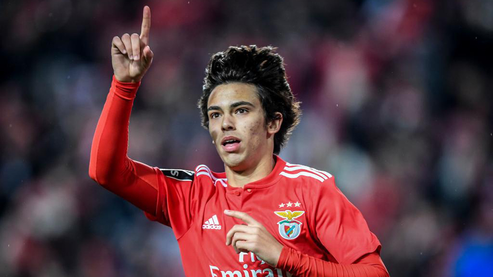 Joao Felix celebrating a goal for Benfica.