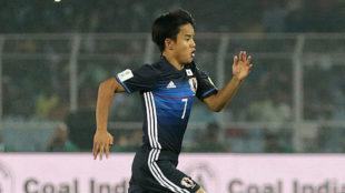 Takefusa Kubo, durante un partido con la selección japonesa.
