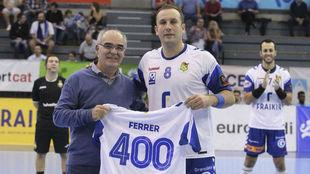 Álvaro Ferrer, cuando alcanzo 400 partidos en la Liga Asobal.