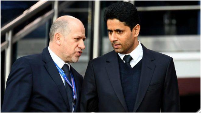 Antero Henrique alongside PSG president Nasser Al-Khelaifi.