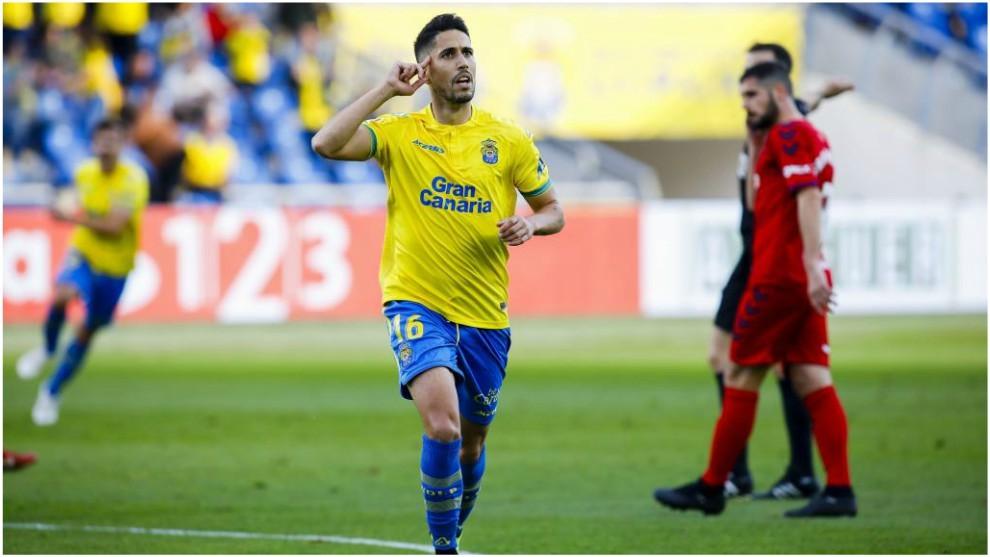 Fidel celebra el gol que marcó a Osasuna en el Gran Canaria