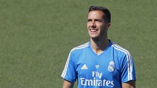 Lucas Vázquez, en un entrenamiento con el Real Madrid.