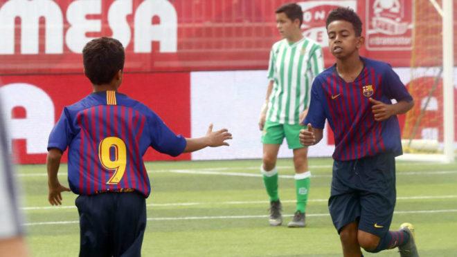Jugadores del Barça en el partido frente al Betis de la fase de...