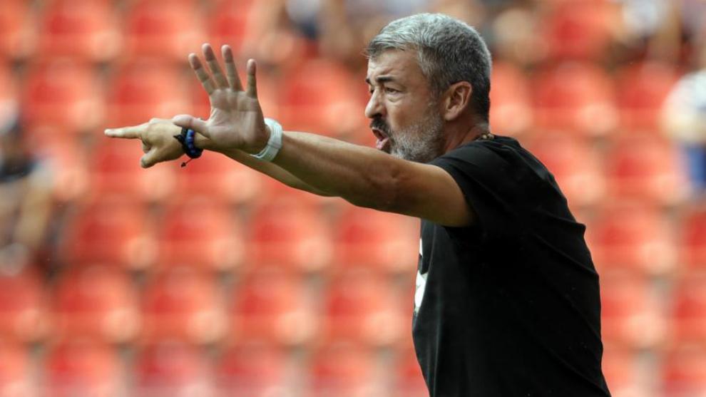Óscar Fernández, en un partido con el Atlético B.