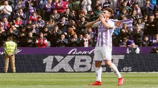 El jugador del Valladolid, Borja Fernández, en el partido de su...