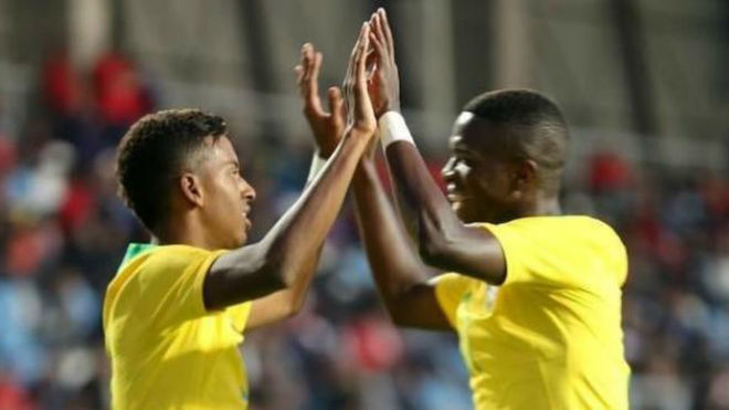 Rodrygo Goes and Vinicius Junior celebrating a goal for one of...