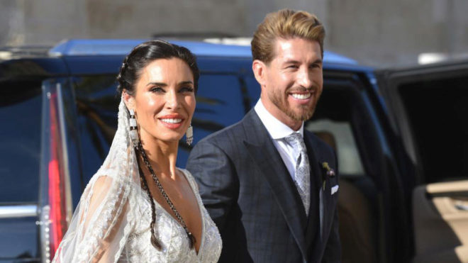 Pilar Rubio and Sergio Ramos departing Seville Cathedral as a married...