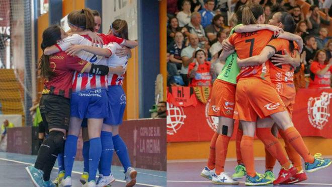 Las jugadoras del Navalcarnero y el Burela celebran sus goles en...