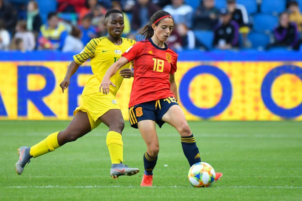 Aitana Bonmatí durante un partido ante Sudáfrica.