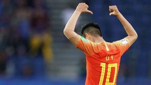 Ying Li celebra un gol en el Mundial ante Sudáfrica.