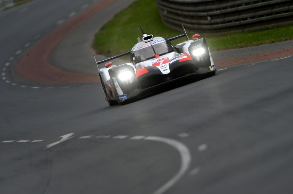 Britishs driver Mike <HIT>Conway</HIT> steers his Toyota TS050 Hybrid LMP1 during the 87th edition of the Le Mans 24 Hours endurance race, in Le Mans, northwestern France, on June 15, 2019. (Photo by JEAN-FRANCOIS MONIER / AFP)