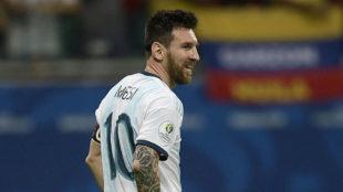 Messi, en un momento del partido contra Colombia.