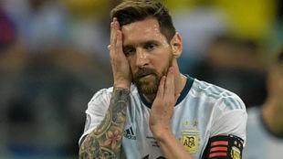 Messi, resignado tras el partido.