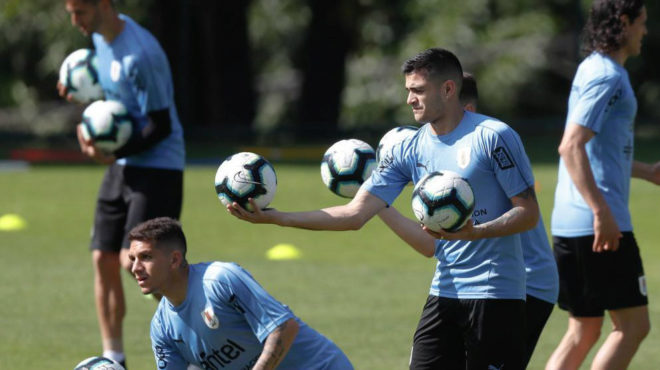 Maxi Gómez, en una sesión con la selección de Uruguay.