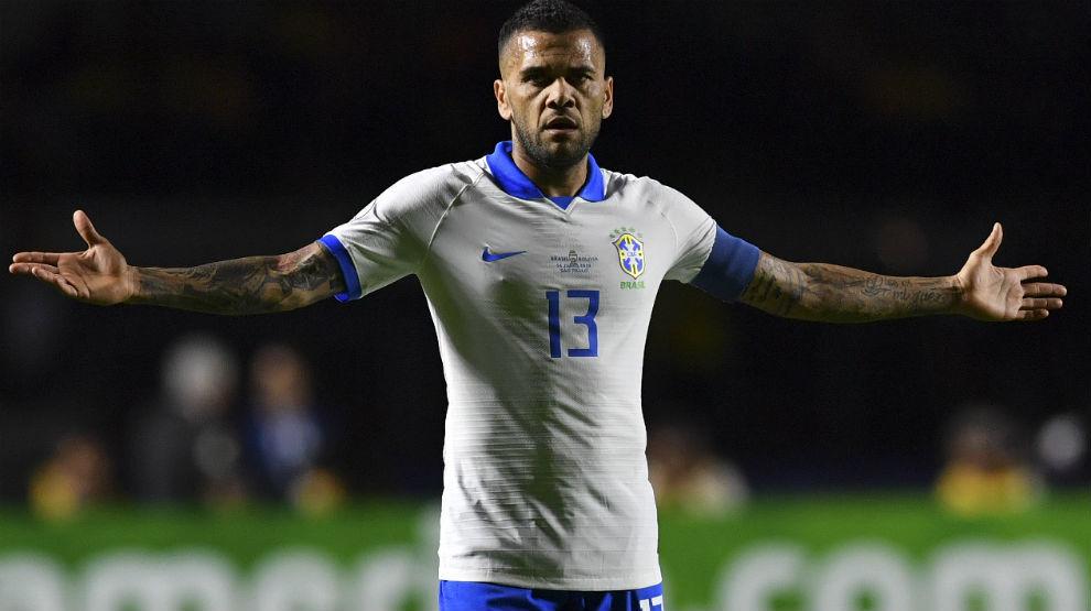 Dani Alves in action for Brazil.