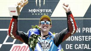 Álex Márquez en el podio de Barcelona.