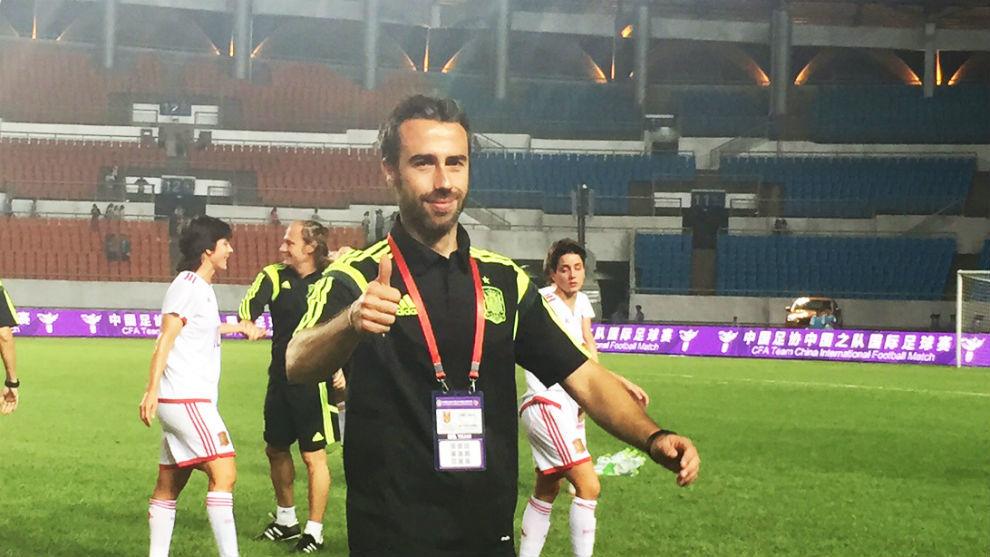 Jorge Vilda tras los partidos ante China en 2015.