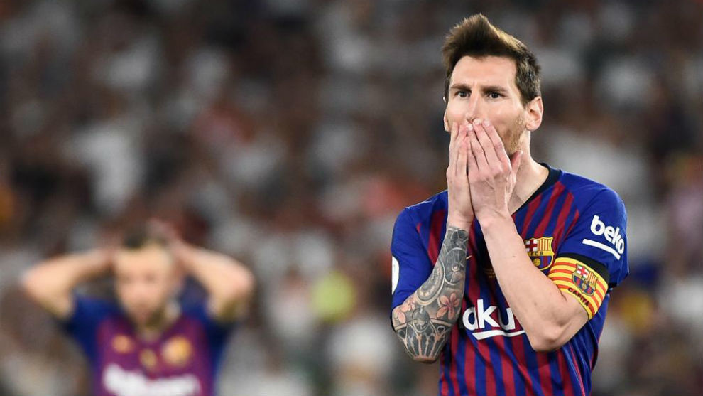 Lionel Messi during the Copa del Rey final at the Estadio Benito...