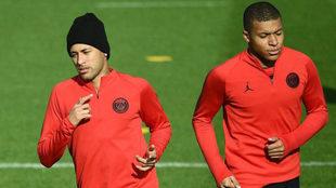 Neymar y Mbappé, en un entrenamiento.